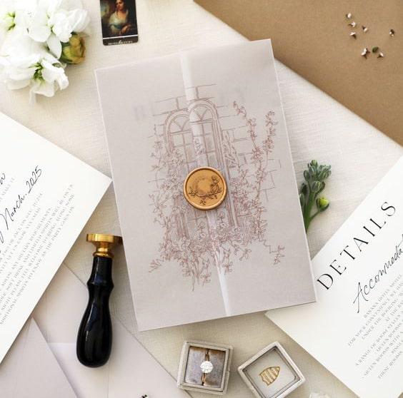 Thiệp mời giấy can ấn tượng