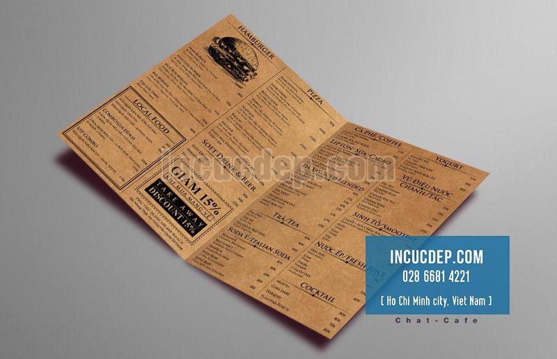 Mẫu thiết kế menu cổ điển trên giấy kraft Châu Âu