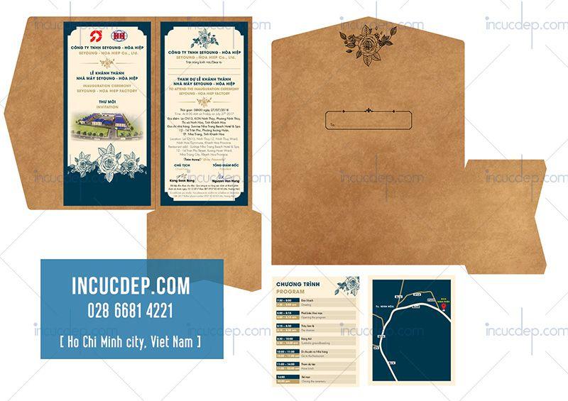 Mẫu thiết kế thiệp mời sự kiện lễ khánh thành công ty Hòa Hiệp