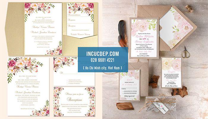 In thiệp mời full bộ với thiết kế chủ đề hoa đặc sắc