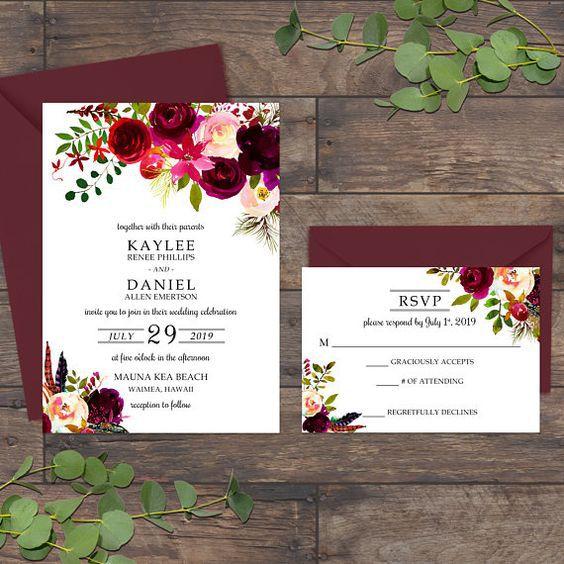 Thiệp mời thiết kế theo chủ để hoa đơn giản