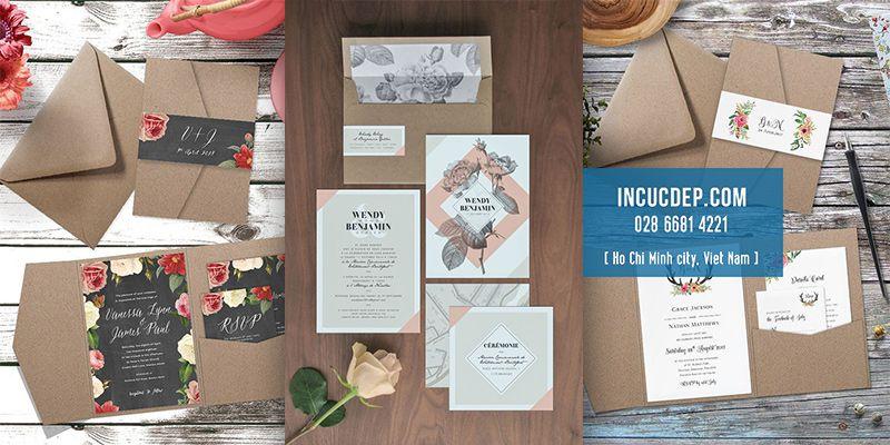 Các bộ thiệp mời kết hợp giữa giấy kraft và vector đặc sắc
