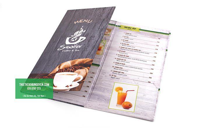 In menu cafe gập 3 thu gọn kích thước
