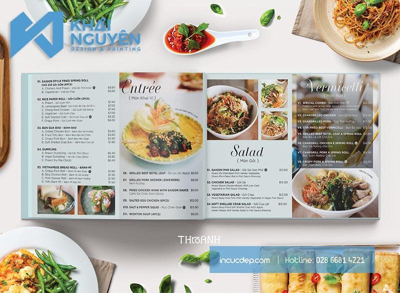 Thiết kế menu cho nhà hàng khí chất