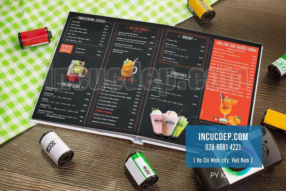 Dạng menu mở phẳng cao cấp - menu quán cafe