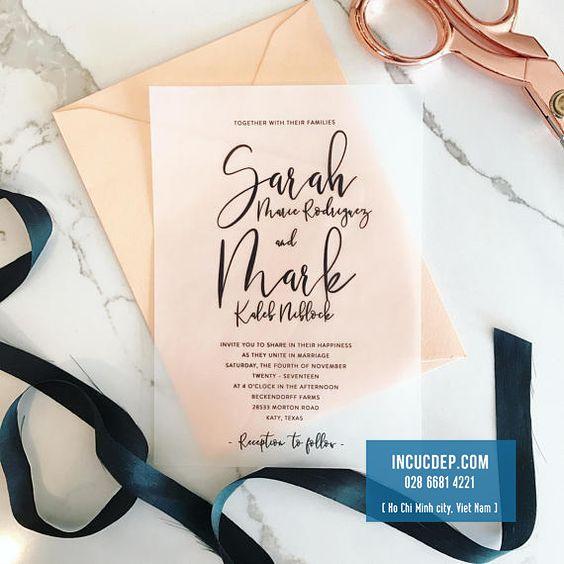 Thiệp mời in bằng giấy trong suốt ấn tượng