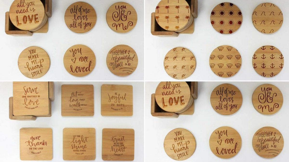 Làm lót ly gỗ giá rẻ khắc Laser siêu đẹp tại TPHCM