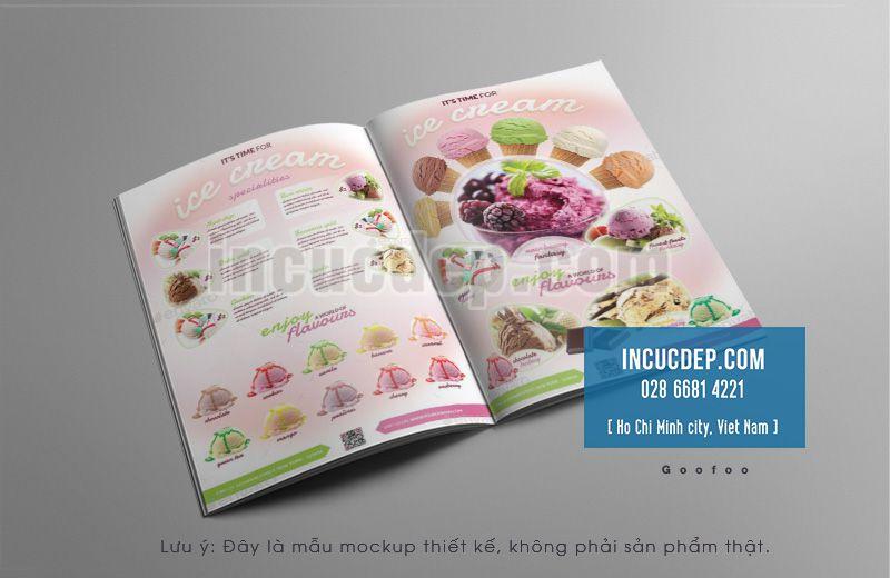 Thiết kế menu quán kem dạng cuốn