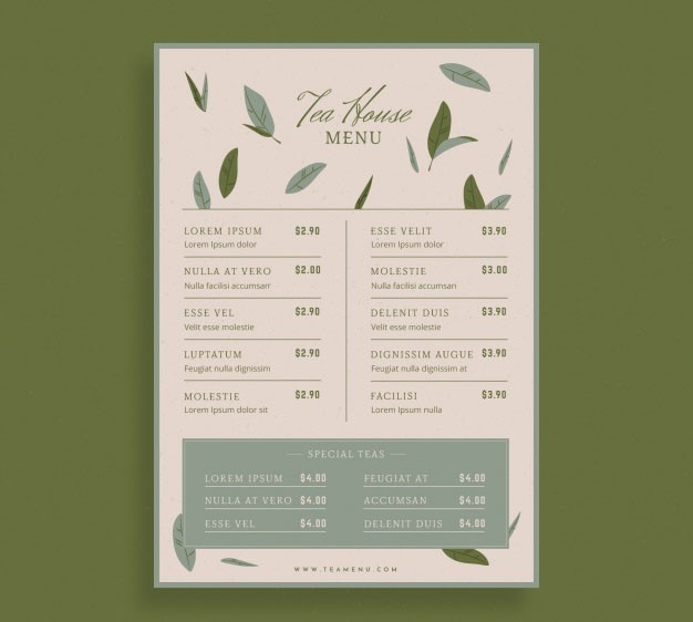 Free design menu tea & coffee