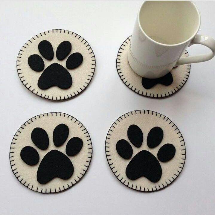 Lót ly chân mèo siêu cute - lót ly vải dễ thương