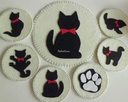 Bộ sưu tập lót ly dán hình mèo siêu đáng yêu