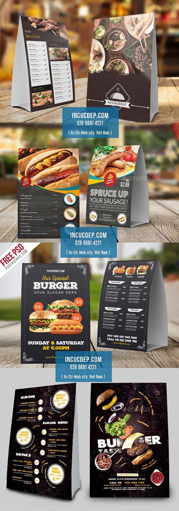 Mẫu menu để bàn quán ăn nhanh - menu chân chữ A