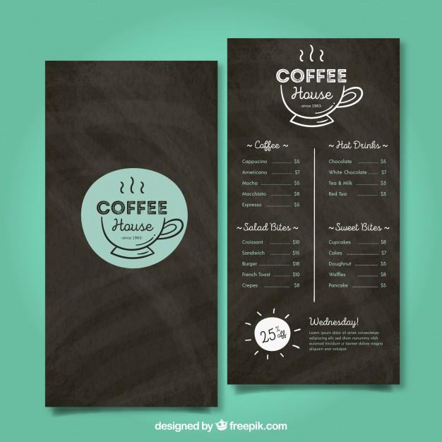 Mẫu thiết kế menu cafe miễn phí