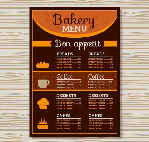 Mẫu thiết kế menu cà phê & bánh ngọt