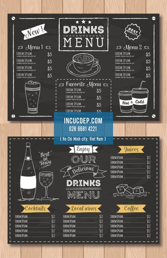 Mẫu menu coffee miễn phí với thiết kế cổ điển