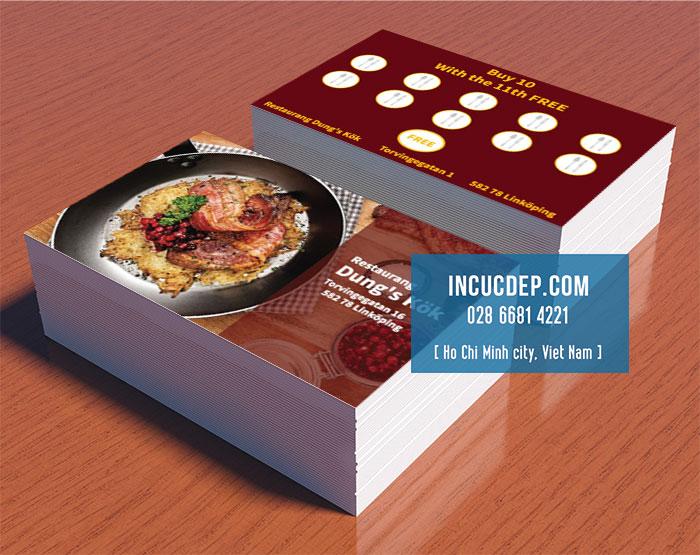 Một mẫu thẻ tích lũy điểm cho quán ăn