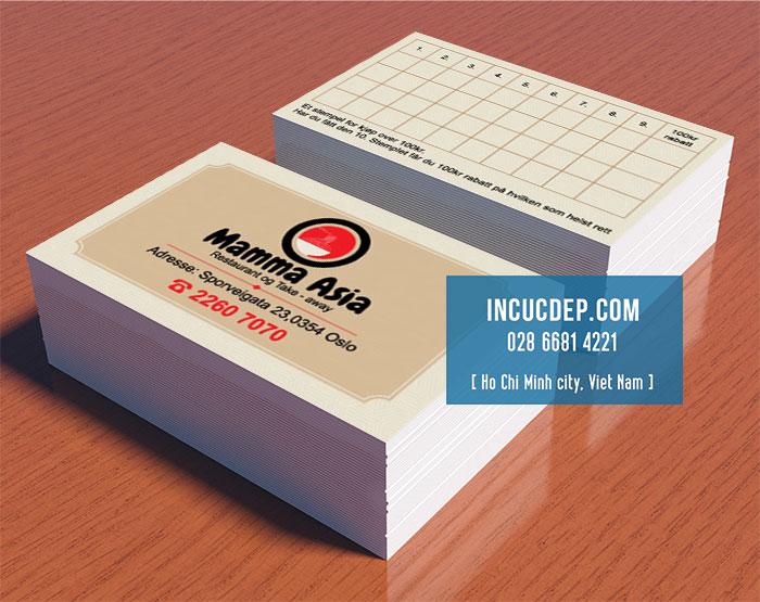 Thẻ tích điểm cho nhà hàng Nhật Mama Asia