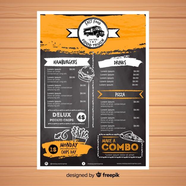 Thiết kế menu cà phê & thức nhanh miễn phí
