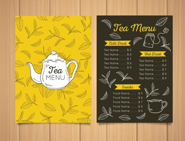 Mẫu thiết kế menu quán trà miễn phí