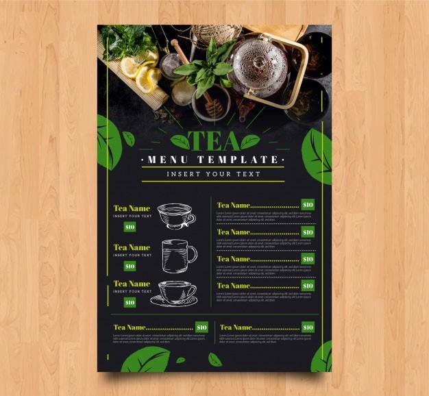 Thiết kế menu trà - menu tea miễn phí