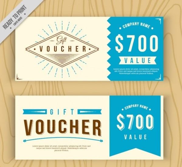 Voucher - thẻ quà tặng thiết kế phẳng vintage