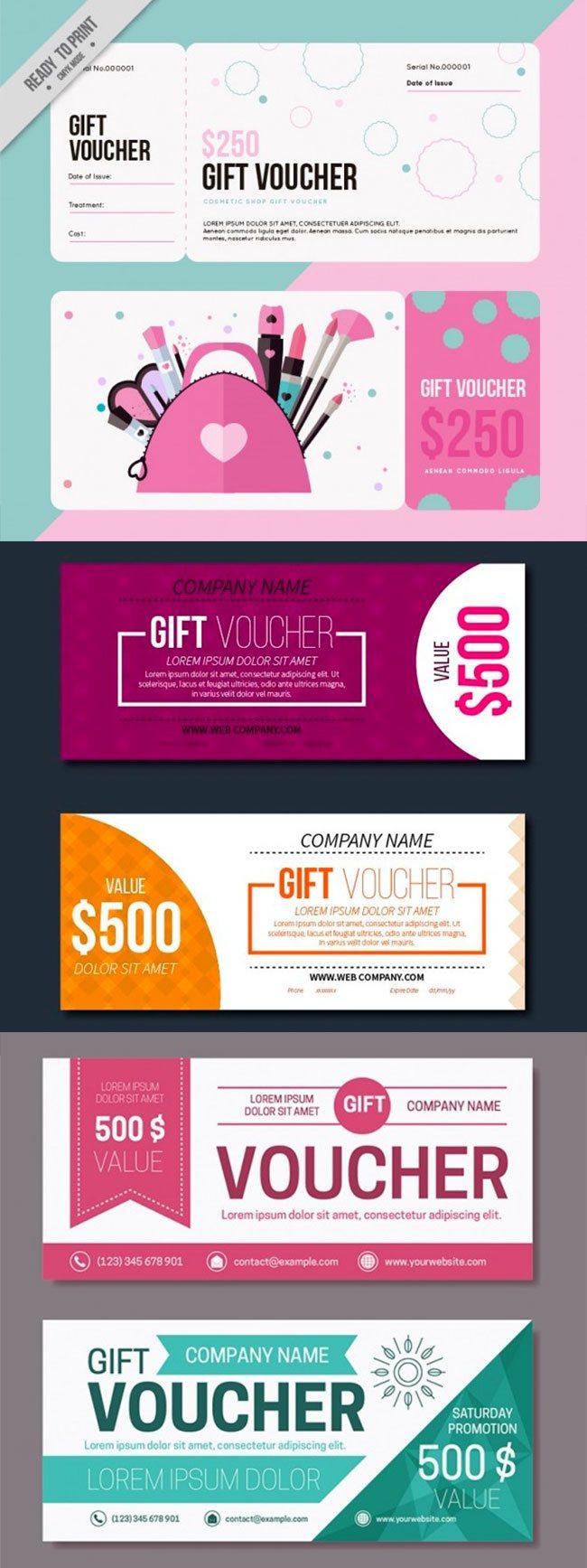 3 mẫu thiết kế voucher phẳng đầy màu sắc
