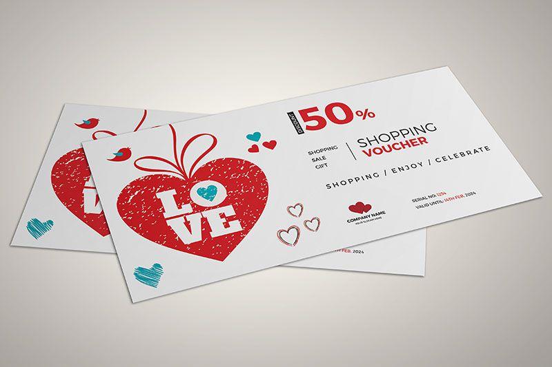 Mẫu voucher chủ đề valentine