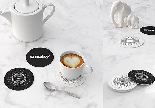 Thư giãn bên tách cafe với mẫu thiết kế lót ly đơn giản