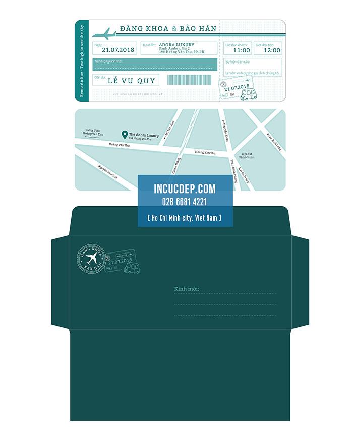 Kiểu thiết kế thiệp cưới dạng vé máy bay