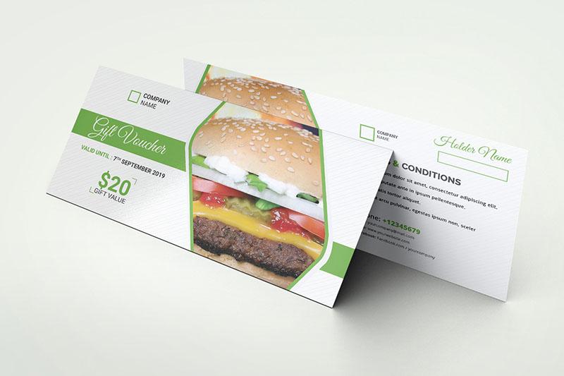Thiết kế voucher nhà hàng với phong cách tối giản