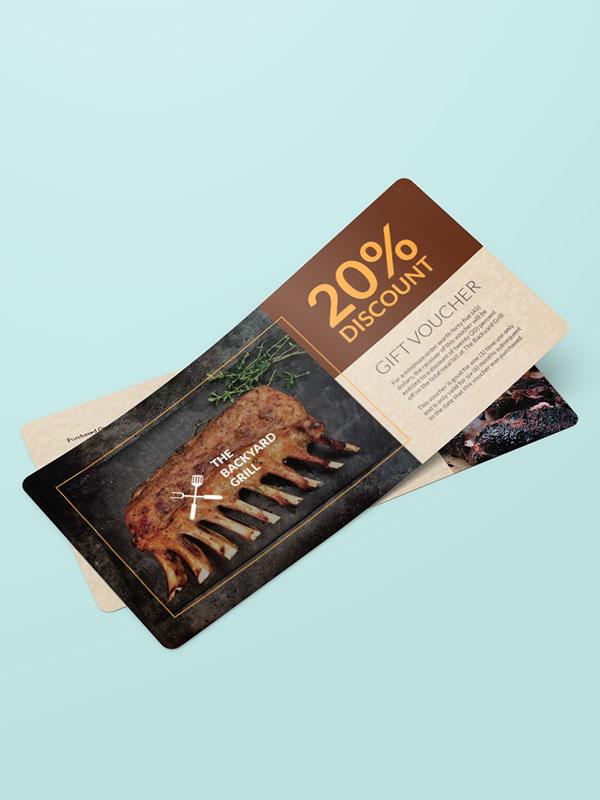 Mẫu thiết kế voucher nhà hàng giảm giá 20%