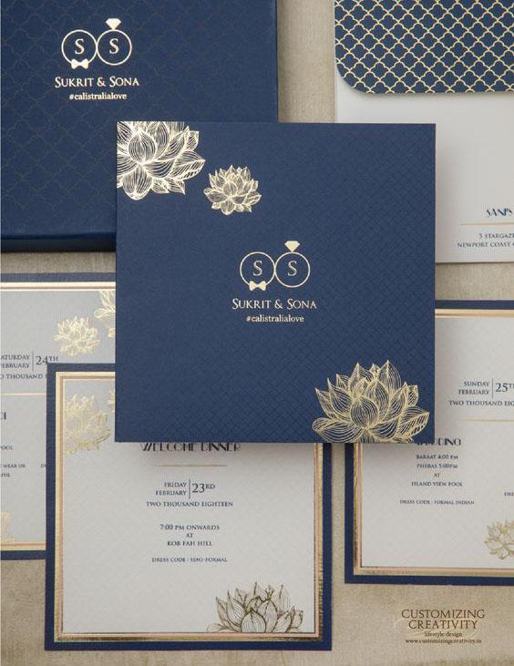 Bộ thiệp mời ép kim cao cấp trên giấy mỹ thuật màu xanh