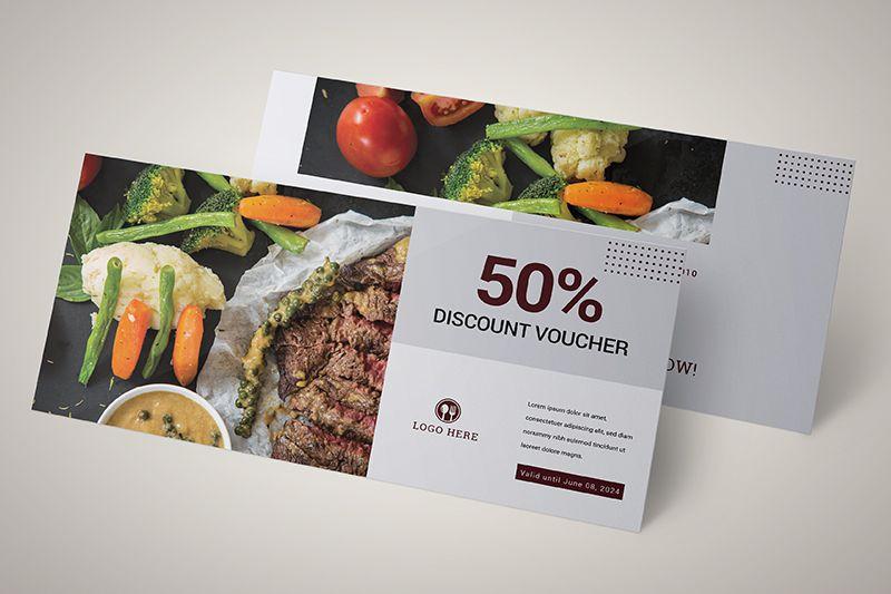 Mẫu voucher giảm 50% dành tặng khách hàng