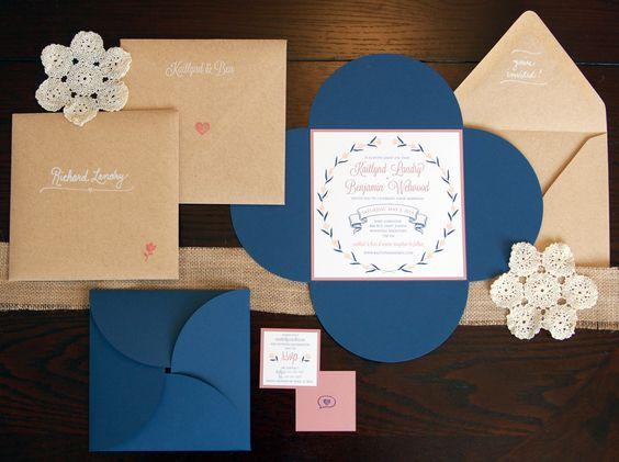 Làm thiệp mời xanh dương kết hợp với giấy kraft
