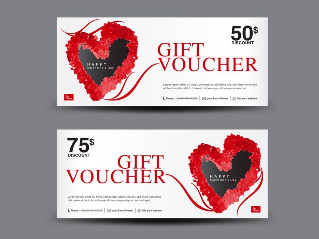 in voucher siêu đẹp cho mùa valentine với màu đỏ