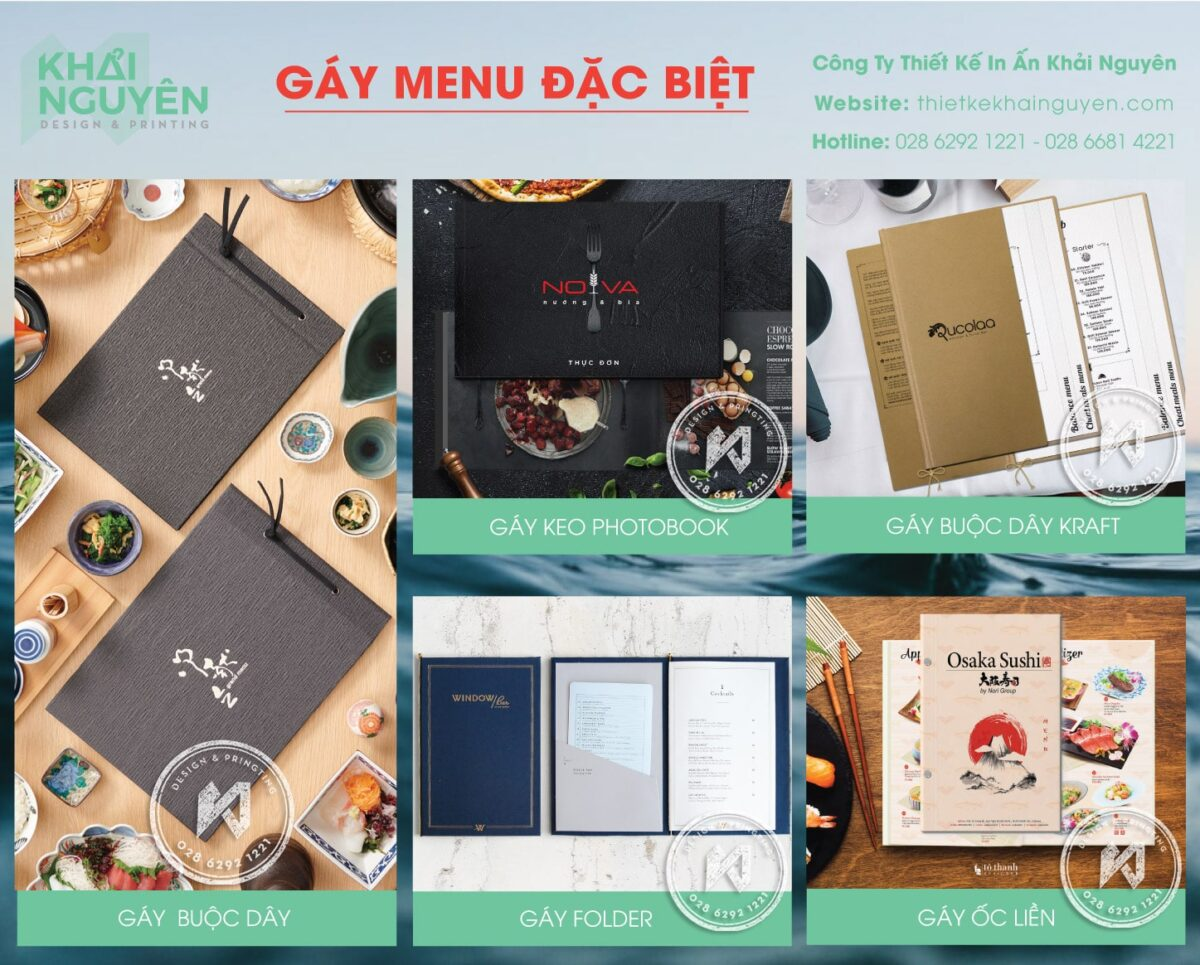 In menu bìa cứng với các loại gáy đặc biệt