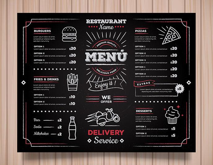 Mẫu menu cửa hàng thức ăn nhanh