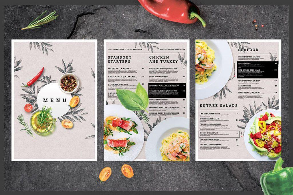 Mẫu thực đơn sử dụng dịch vụ thiết kế menu