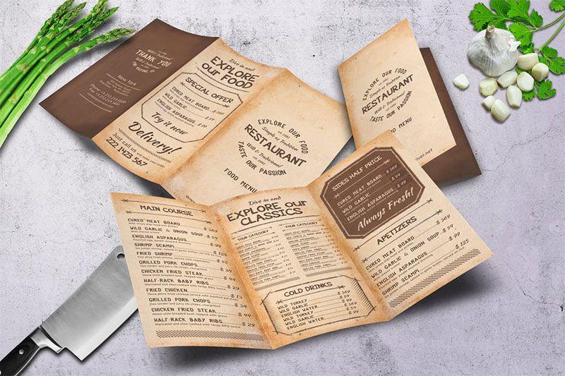 Mẫu thiết kế menu gập ba