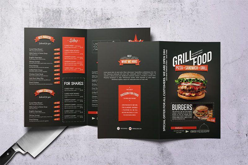 Mẫu thiết kế menu gập đôi