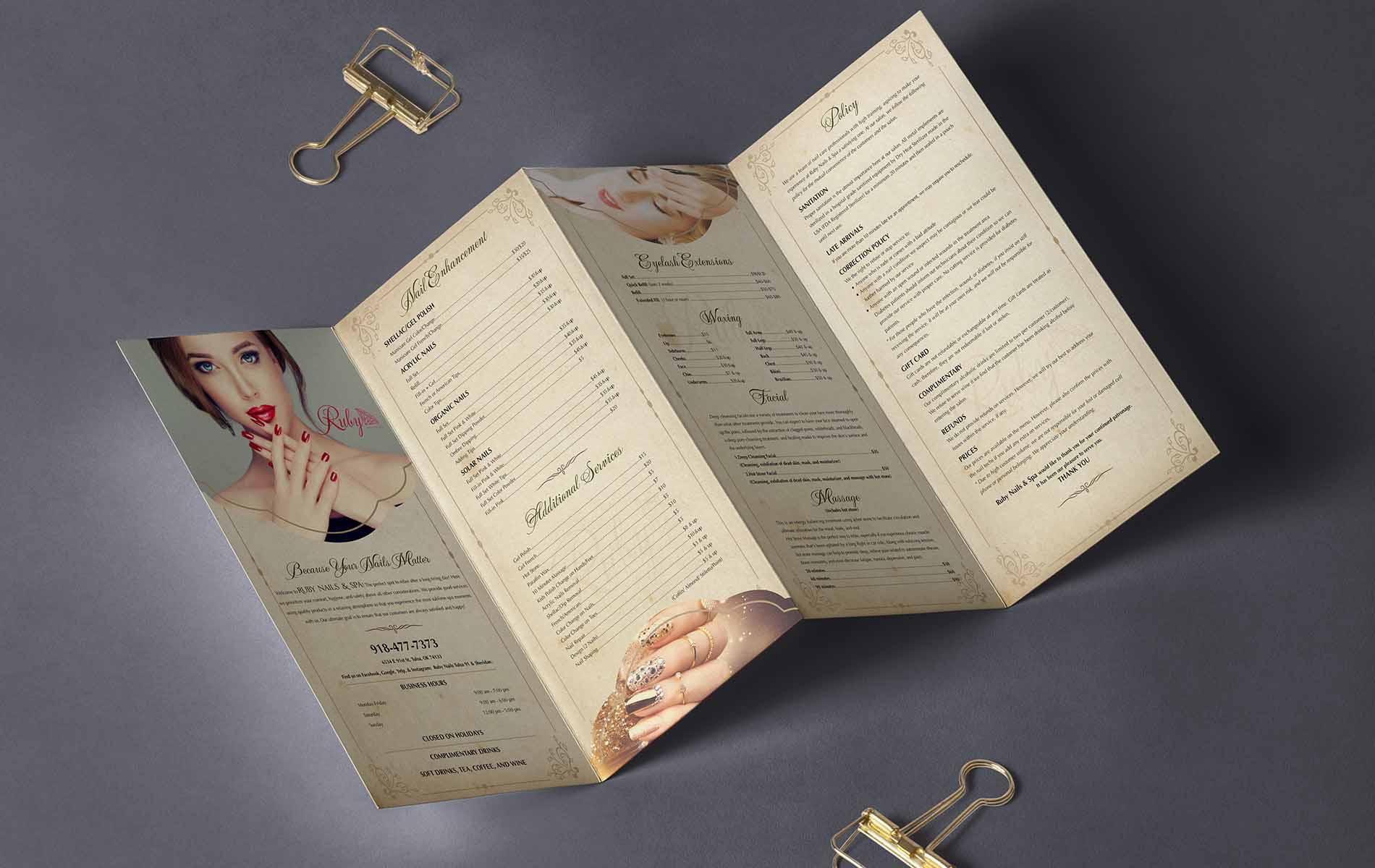 Menu Nails thiết kế phong cách cổ điển