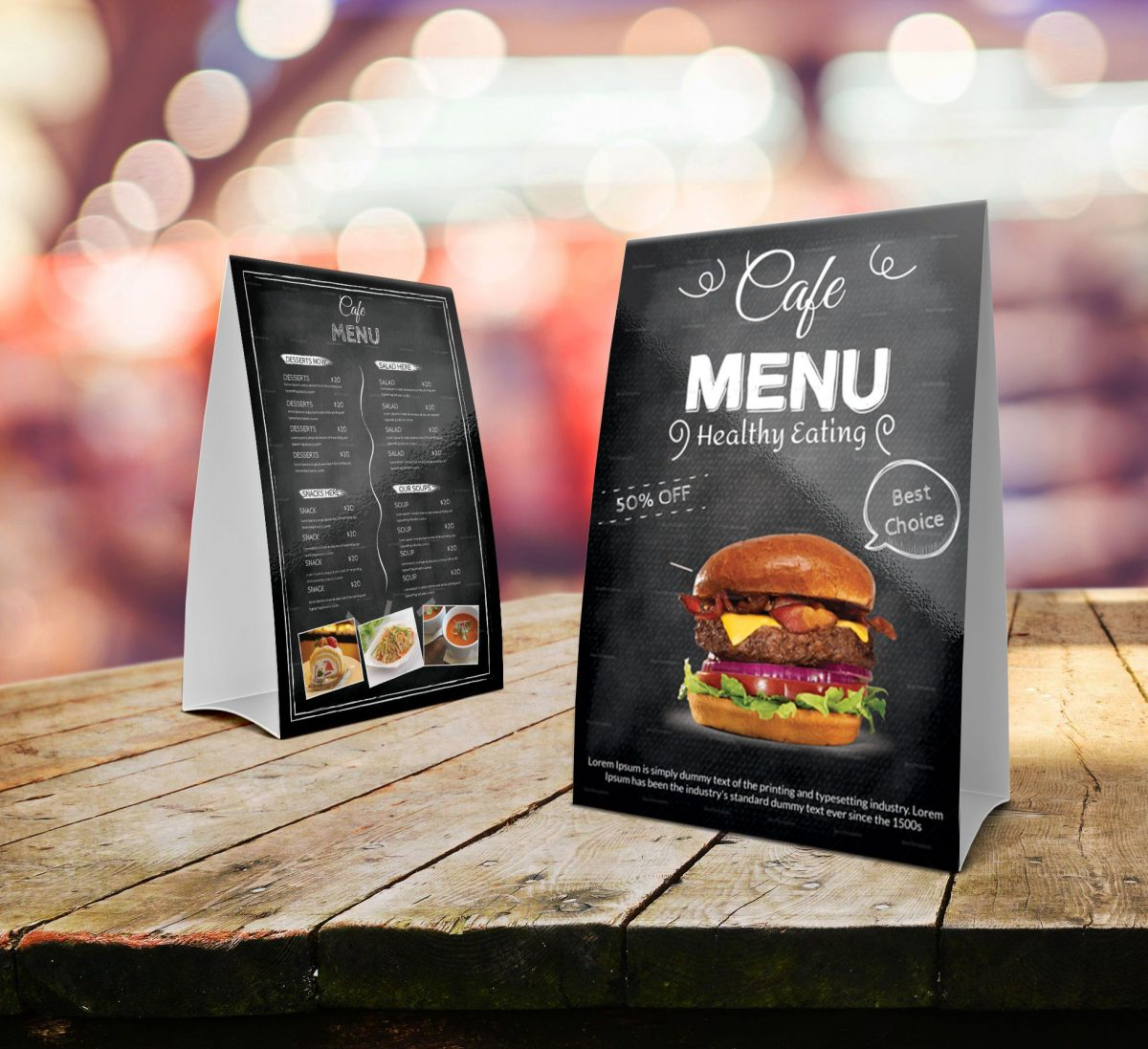 Mẫu menu để bàn quán ăn nhanh - fast food table tent menu