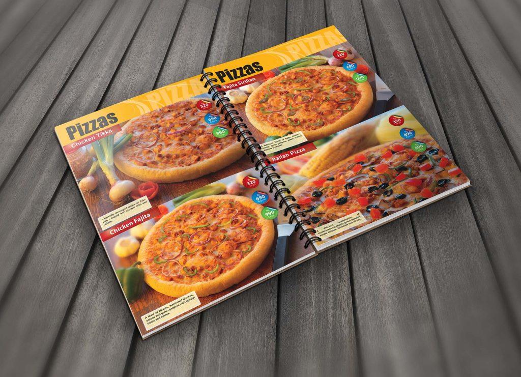 thiet menu pizza