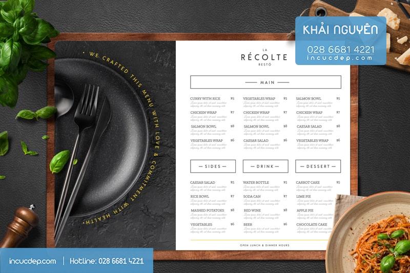 Bistro menu - mẫu làm thực đơn bảng A3