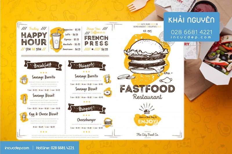 Fast Food Menu - Menu bảng A3 cho tiệm thức ăn nhanh