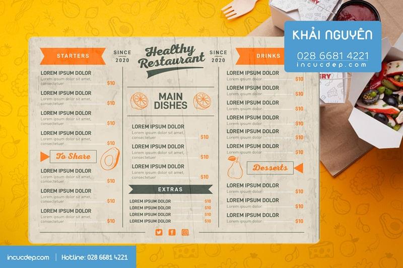 Healthy Restaurant Menu - thiết kế menu bảng hiện đại