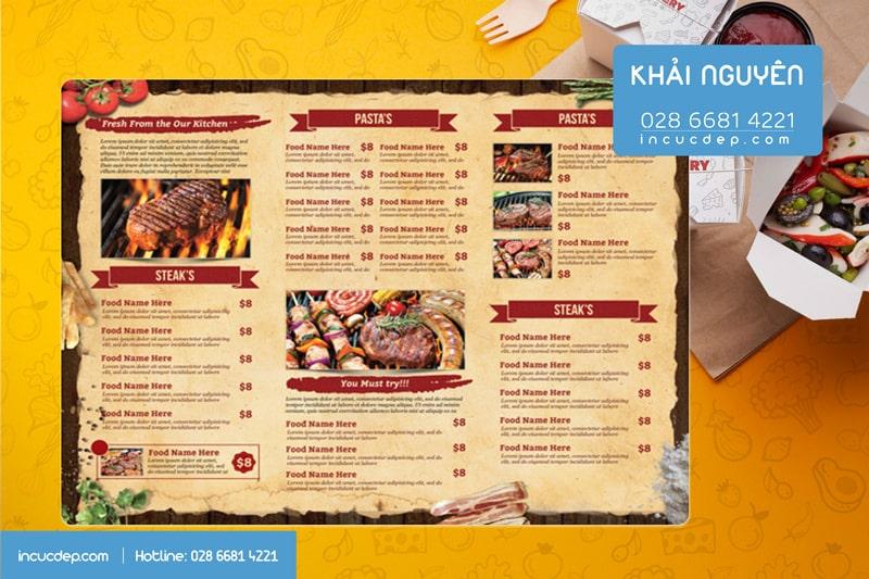 In menu nhựa A3 dùng để tại quày order