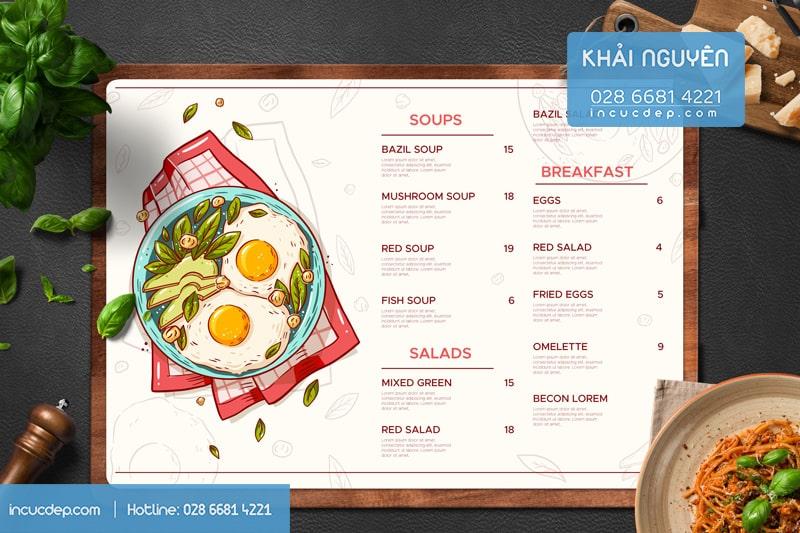 Thiết kế & in menu bảng A3 đẹp cho tiệm thức ăn nhanh