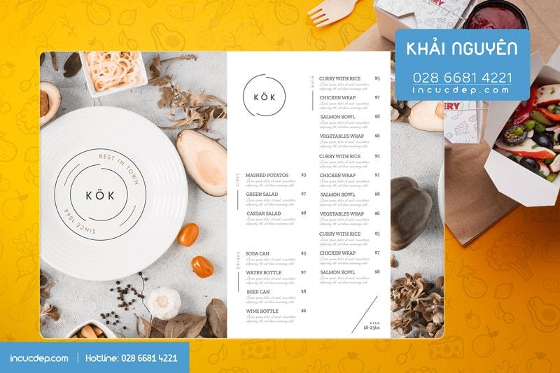 Kiểu thiết kế menu bảng rất đẹp với phong cách đơn giản