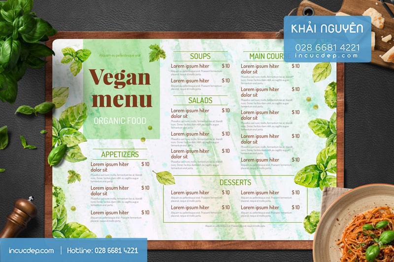 Menu bảng cho nhà hàng Chay - Vegan Menu Design